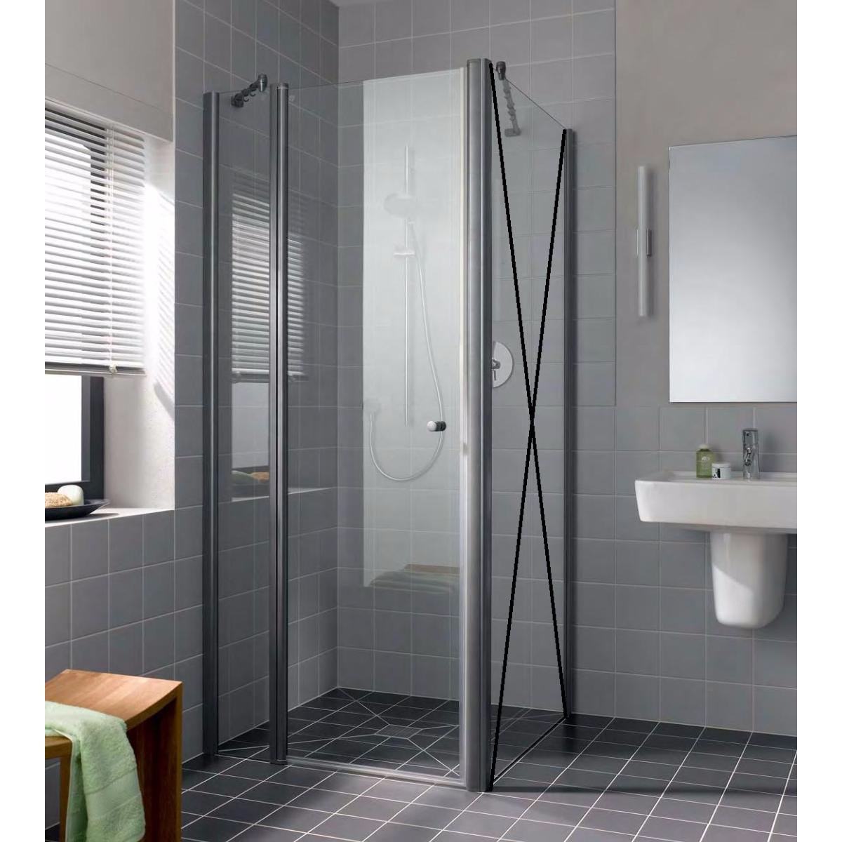 paroi de douche 1g porte pivotante avec l ment fixe en. Black Bedroom Furniture Sets. Home Design Ideas