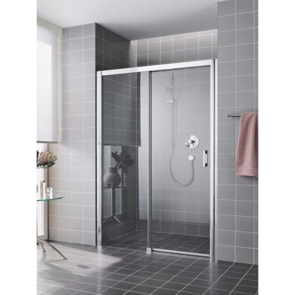 Paroi de douche 1 porte coulissante grande largeur for Porte garage enroulable grande largeur