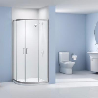 Paroi de douche 1 4 rond a 2 portes coulissantes 80x80 for Porte douche 1 4 de cercle