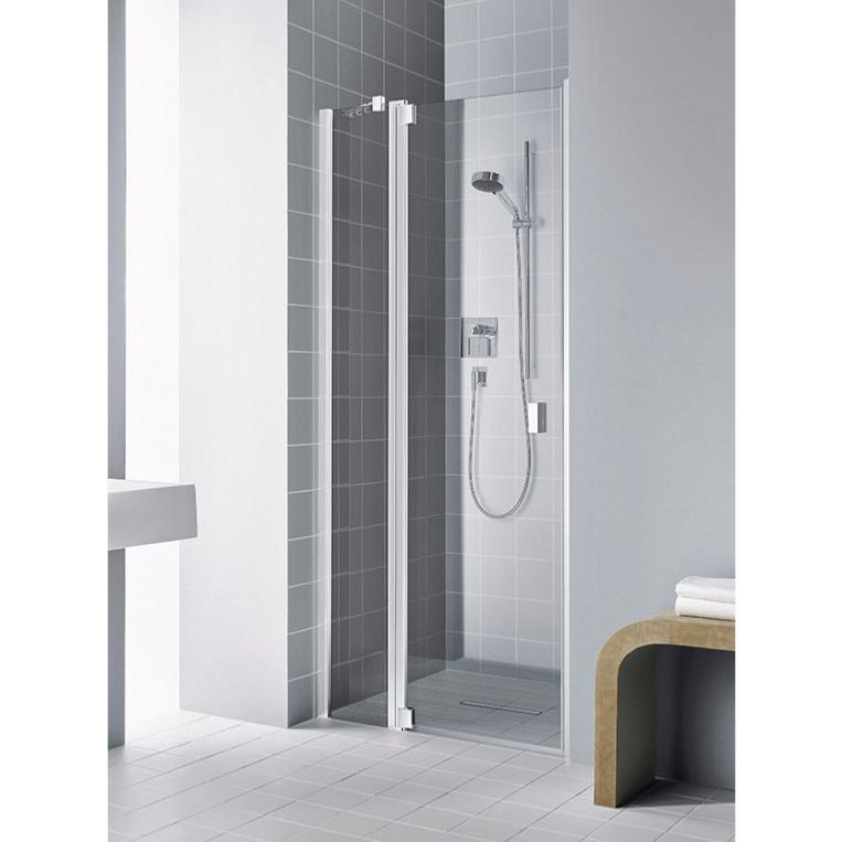 Paroi de douche 1 porte pivotante avec l ment fixe en - Porte de douche avec paroi fixe ...
