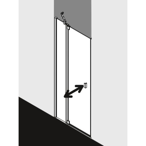 Paroi de douche a 1 porte pivotante avec element fixe en for Porte de douche rothalux