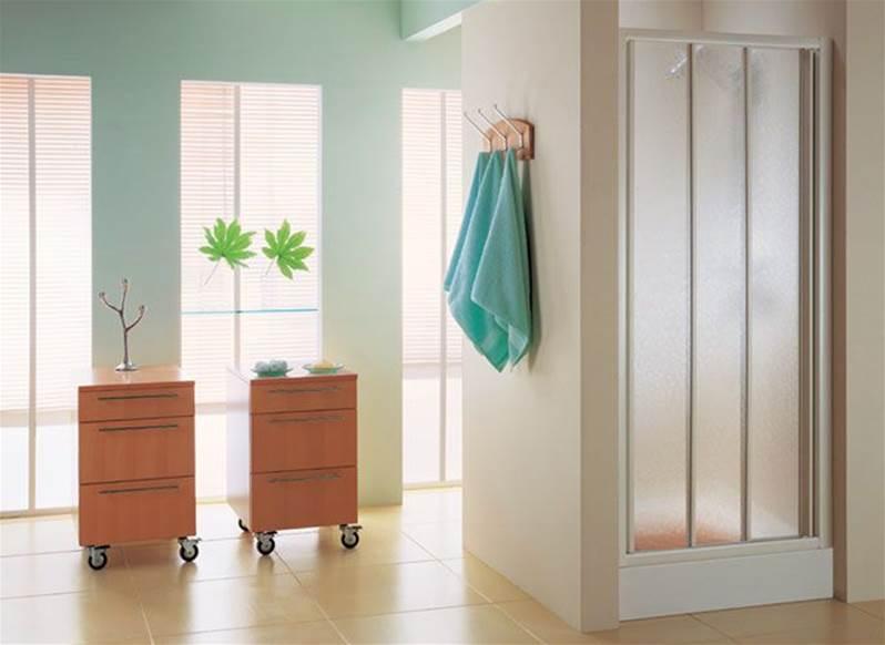 Paroi de douche 2 portes coulissantes sur 1 panneau fixe - Porte de douche coulissante 3 volets ...